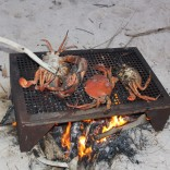 Crab on a camp BBQ on the beach.